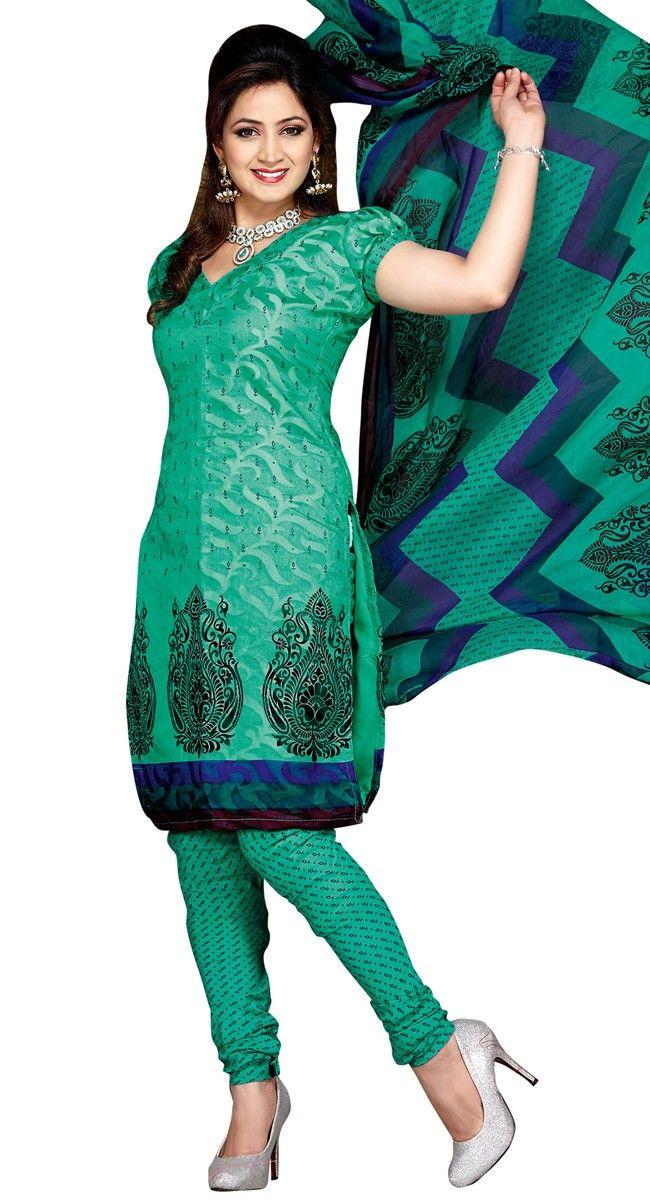 Ravishing Sea Green Printed #Salwar_Kameez