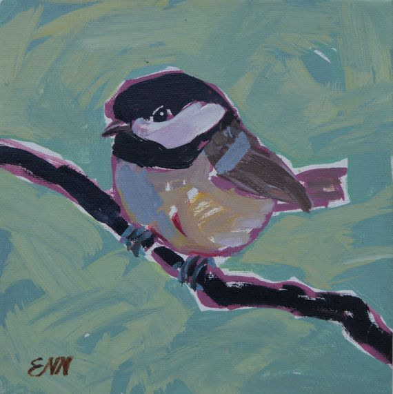 Original oil bird painting / Willow Tit / by NielsenDenmark