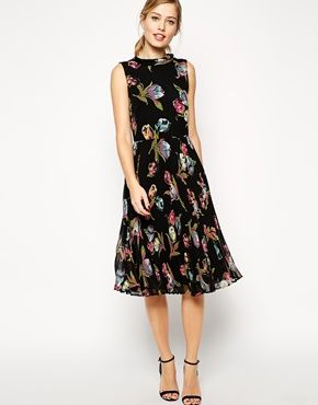 Enlarge ASOS Midi Dress with Pleated Skirt and Funnel Neck in Tulip Print