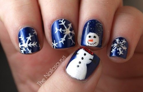 Cute Snowman and Snowflake nails for the Holidays~ - Winter Nail Art