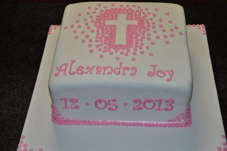 Pink Blossom Cross Christening Cake
