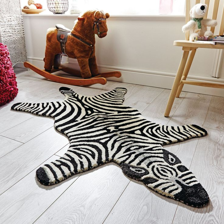 Flair Kiddy Play Zoe Zebra Rug In White Next Day Delivery