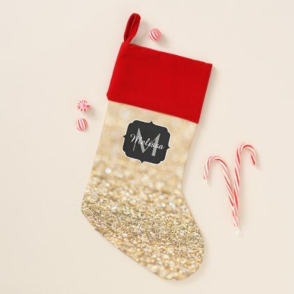 Beautiful champagne gold glitter sparkles Monogram Christmas Stocking - gold gifts golden customize diy