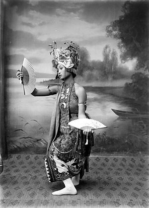 A portrait of Gandrung dancer from Banyuwangi, Java, Indonesia. Taken around 1910-1930