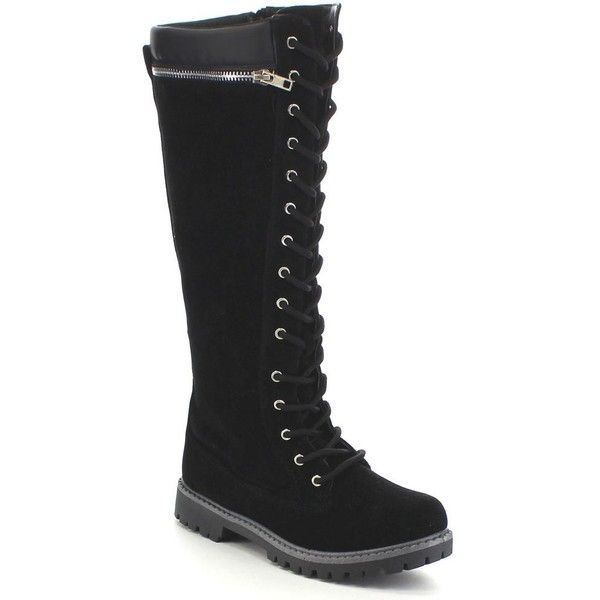 Anna Dallas-18 Women's Combat Lace-up Zip Knee High Winter Boots (47 AUD) ❤ liked on Polyvore featuring shoes, boots, black, black military boots, military boots, tall combat boots, black army boots and army combat boots