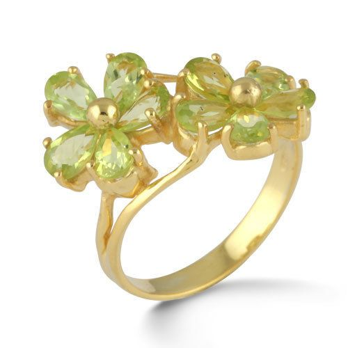 Fine 925 Sterling Silver Ring Natural Peridot Gemstone Gold Plated Jewelry SZ 8 #Rinnga