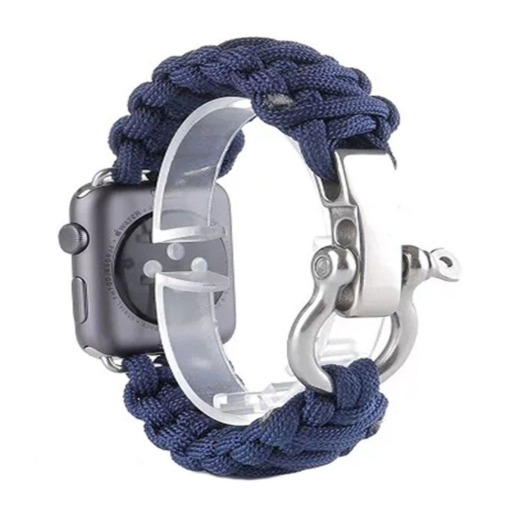 Fashion Sport Woven Rope Canva Ribbon Metal Bolt Lock Outdoors Watch Band Bracelet Strap for Apple Watch 38/42mm I71.