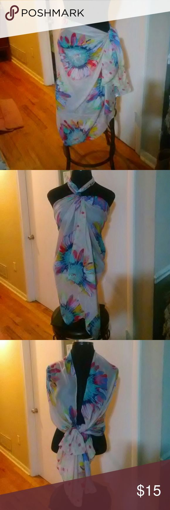 Beautiful multi color Scarf... This scarf is approx 35x80..can be used for beach or dress up and maybe jeans..(New) Accessories Scarves & Wraps