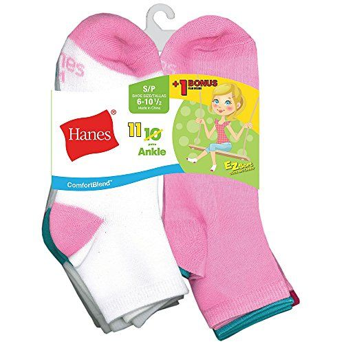 Hanes Boys/' EZ Sort ComfortBlend Ankle Athletic Sport Low-Cut Socks 6 Pack