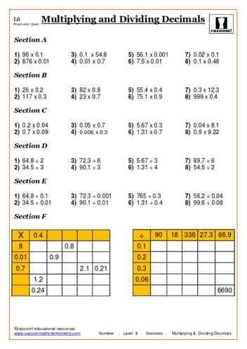 Multiplying and Dividing Decimals Maths Worksheet