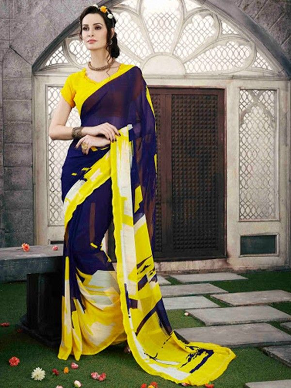 #NavyBlue with #Yellow #Printed #Saree with Georgette Blouse Shop Now @ http://goo.gl/4q5cJB #NaarikeSangVastrang
