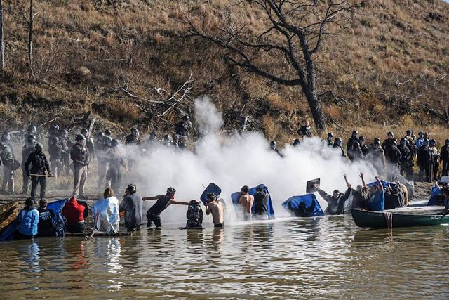 CENSORED NEWS: Standing Rock Water Protectors in River -- Police Assault with Tear Gas, Pepper Spray Nov. 2, 2016