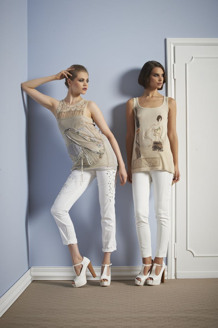Sonia Fortuna Spring Summer Collection 2014 White pants & beige shirts