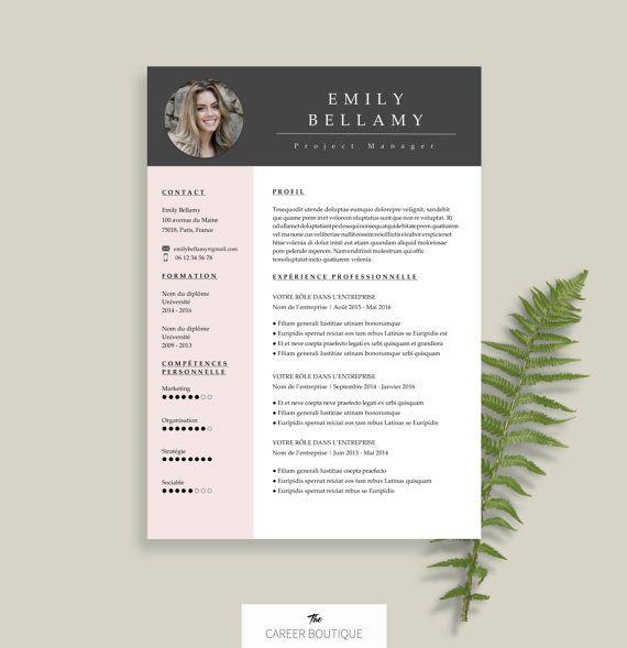 Modèle de CV   Resume Template   Lettre de Motivation pour MS Word   Téléchargement Numérique Instantané   Emily