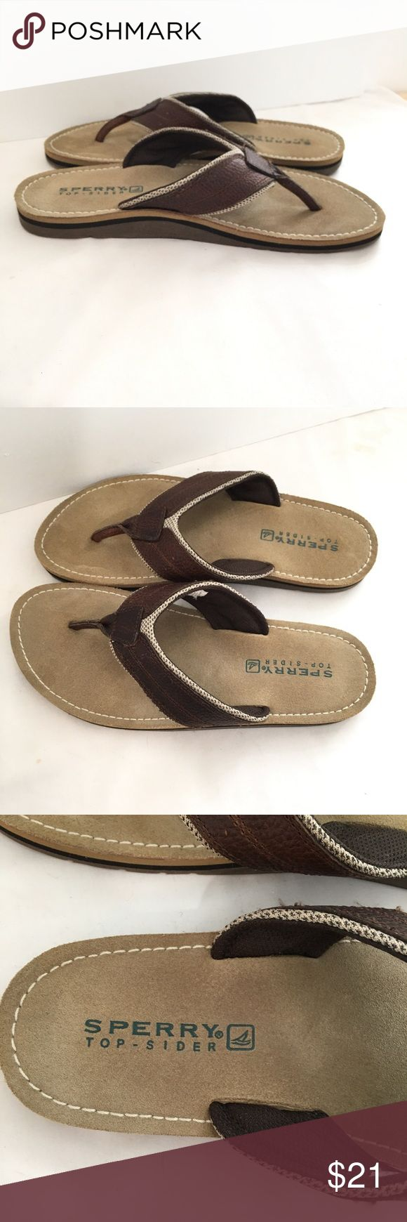 Sperry Top Sider Men's Flip Flops Good preowned condition Sz 11 Brown and Tan Thongs Sperry Top-Sider Shoes Sandals & Flip-Flops