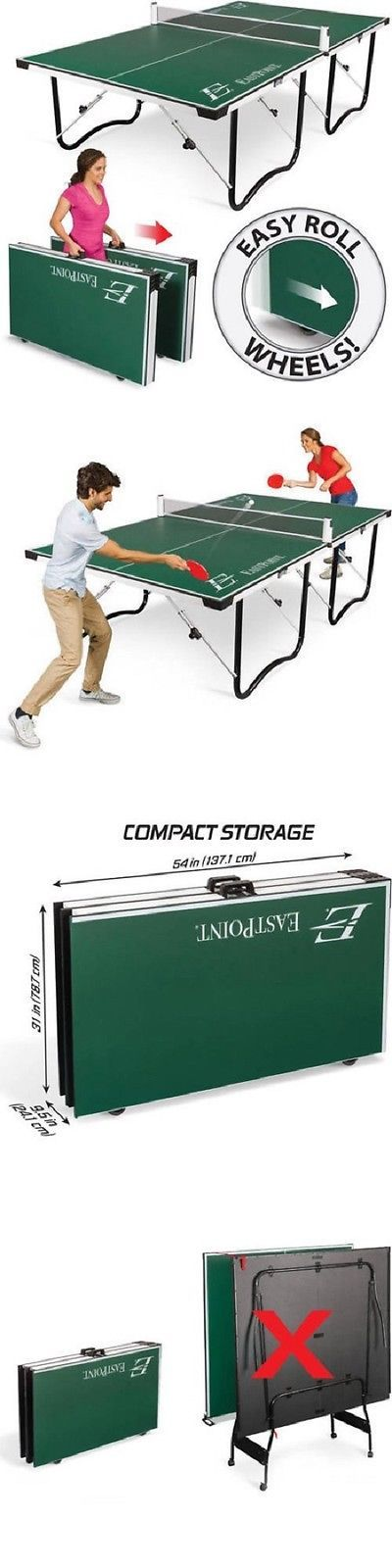 Tables 97075: Indoor Outdoor Folding Compact Ping Pong Storage Game Room Arcade Tennis Table BUY IT NOW ONLY: $299.99