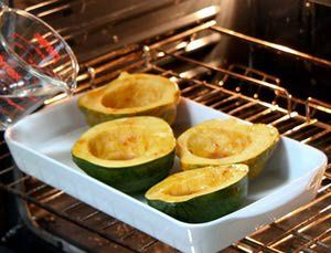 How to cook acorn squash, a simple step-by-step recipe for baked acorn squash with an easy glaze. Here is a step-by-step how-to with pictures showing how to cook acorn squash.: Bake the Glazed Acorn Squash