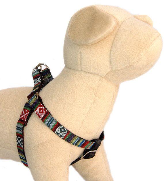 Designer dog harness dog leash Southwestern black ethnic stripe dog harness Navajo Tribal Aztec Ikat Small dog harness Large dog harness