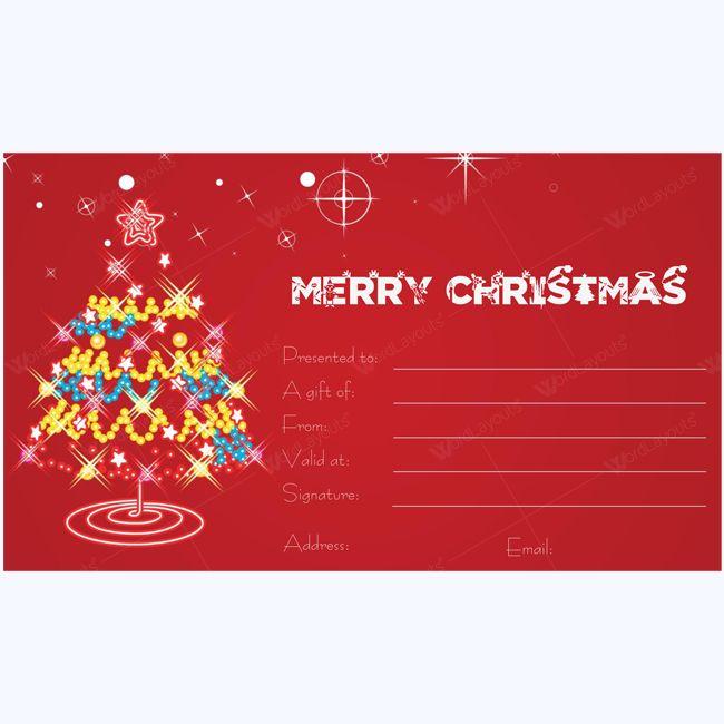 Shinning Ornaments Tree Christmas Gift Certificate Template #christmas #giftcard #christmascard #christmascertificate