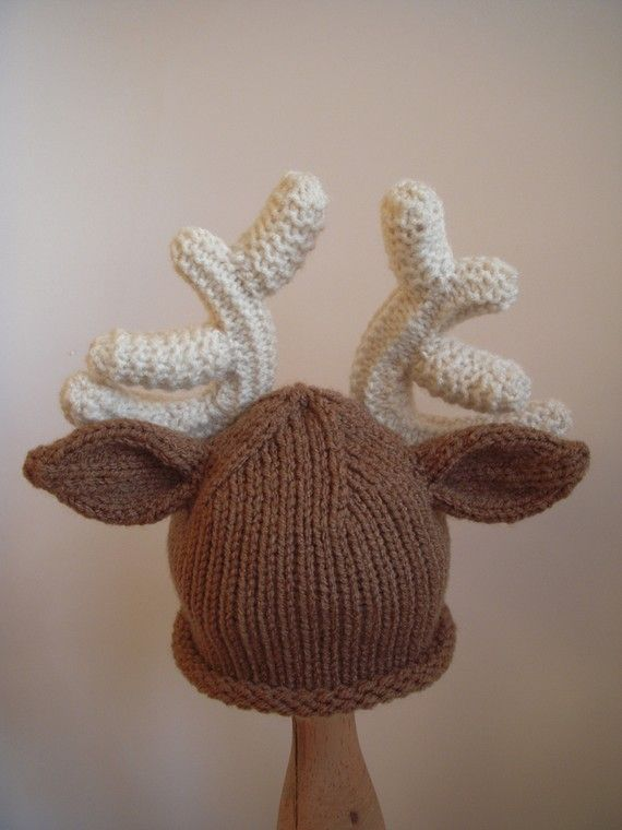 Knitting Pattern For Reindeer Hat : Reindeer Hat, Christmas, Baby Deer Hat, Knit Infant Photo Prop, Newborn, 0-3,...