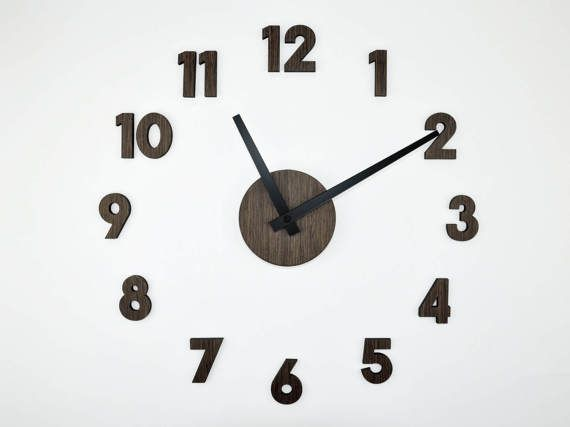 oversized wall clock 40-60 cm/16-20inch | modern wooden clock | large wall clock|  |  diy wall clock | decorative clock | numbers wall clock