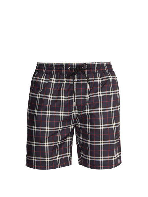 2875c3c05372e BURBERRY BURBERRY - CHECK PRINT SWIM SHORTS - MENS - NAVY MULTI. #burberry  #cloth