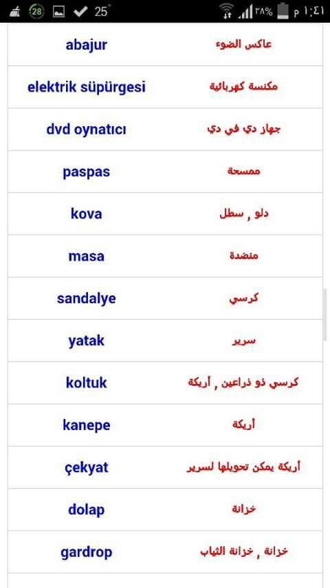 في البيت اللغه التركية