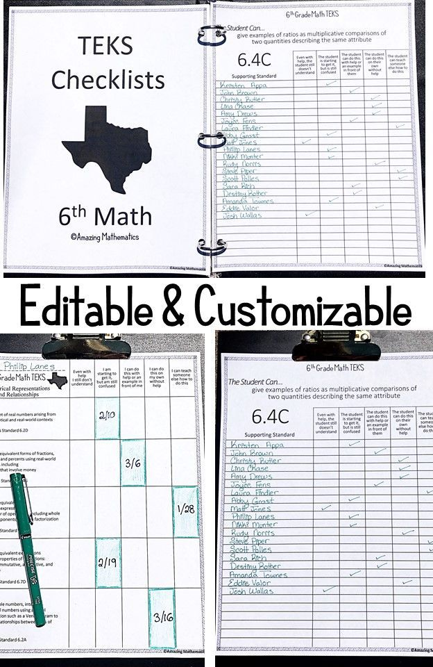 6th Math TEKS Checklist -