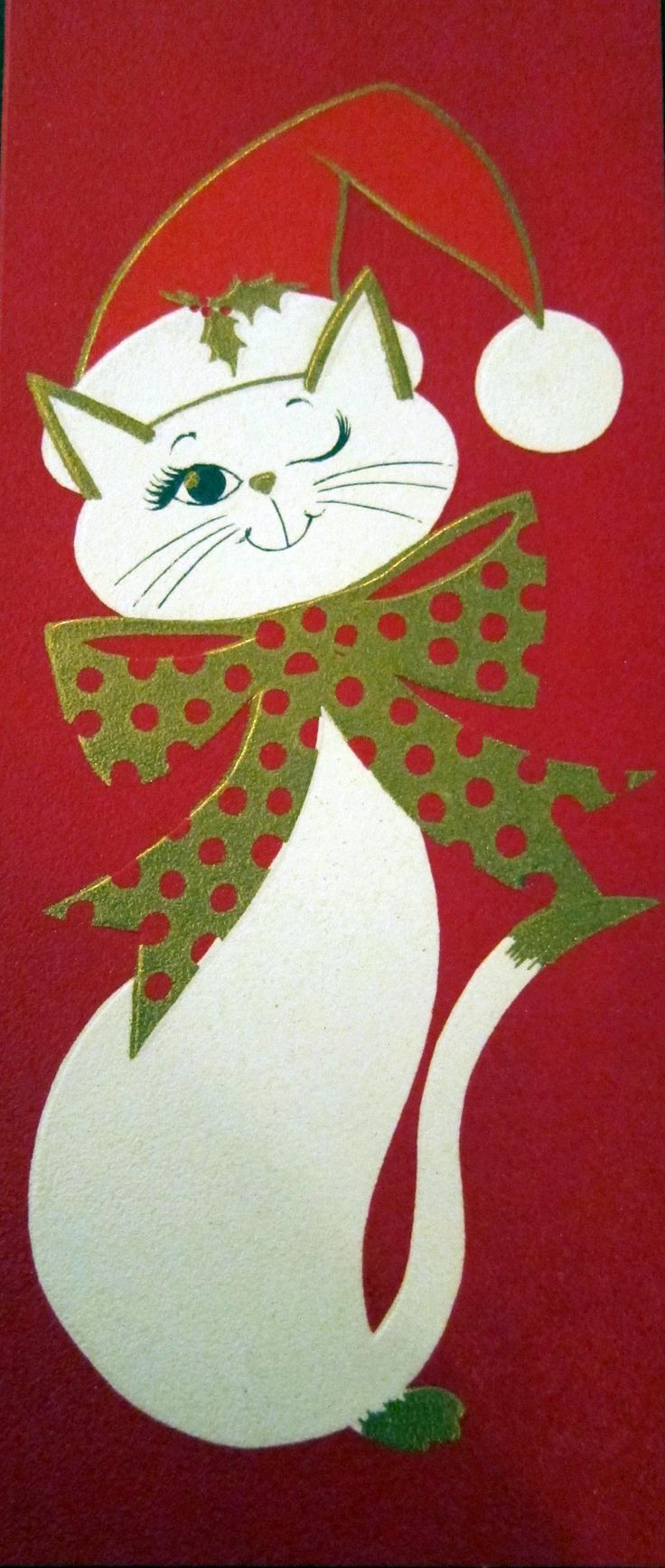 Cute Cat Vintage Christmas Card