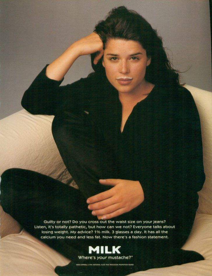 Pin for Later: The Most '90s-tastic Got Milk? Ads  Party of Five's Neve Campbell went black-on-black for a simple ad.