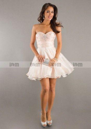 Sweetheart-neck A-line Short Mini Organza Homecoming Dresses
