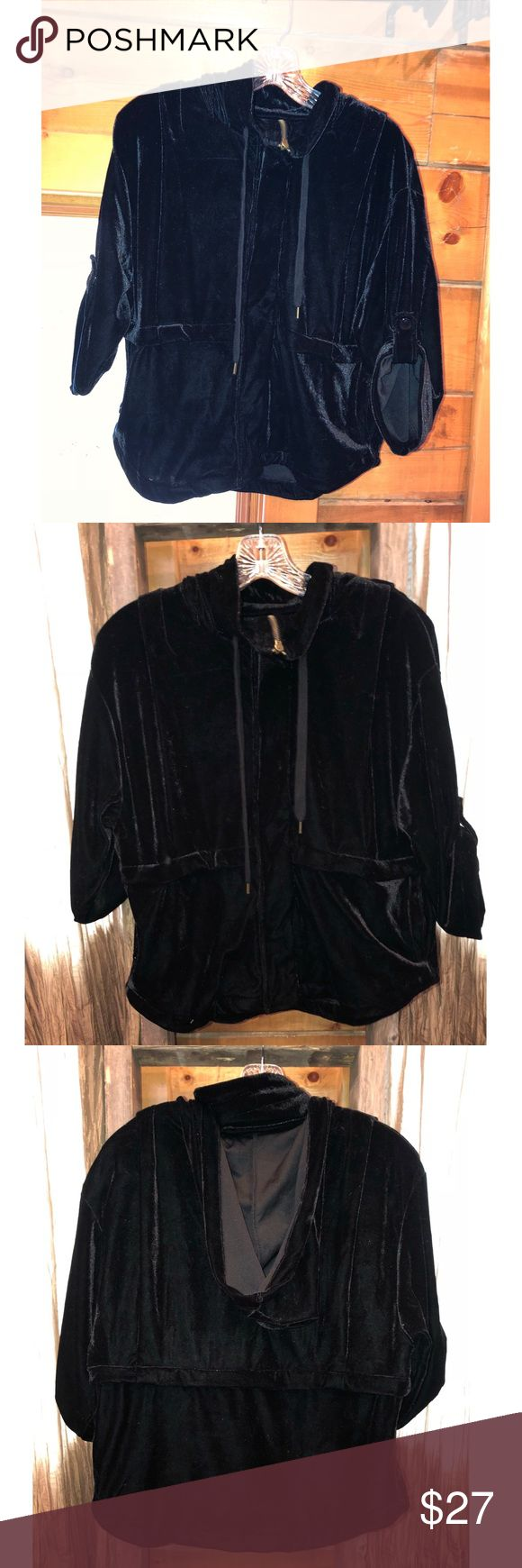Black velvet 3/4 sleeve zip up hoody Dress it up | Dress it down Excellent condition worn one time & adorable on freebird Jackets & Coats