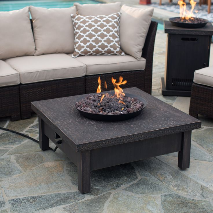 Red Ember Livingston 35 in. Square Gas Fire Pit Table | from hayneedle.com