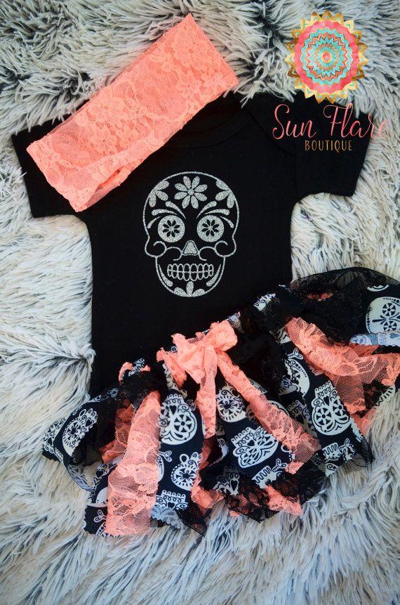 Sugar skulls-Girls' clothing-baby girl by SunFlareBoutique on Etsy