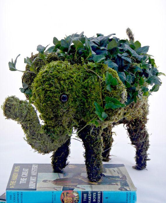 Moss elefante Topiary - pieza central de arte moderno (listo para su nave)