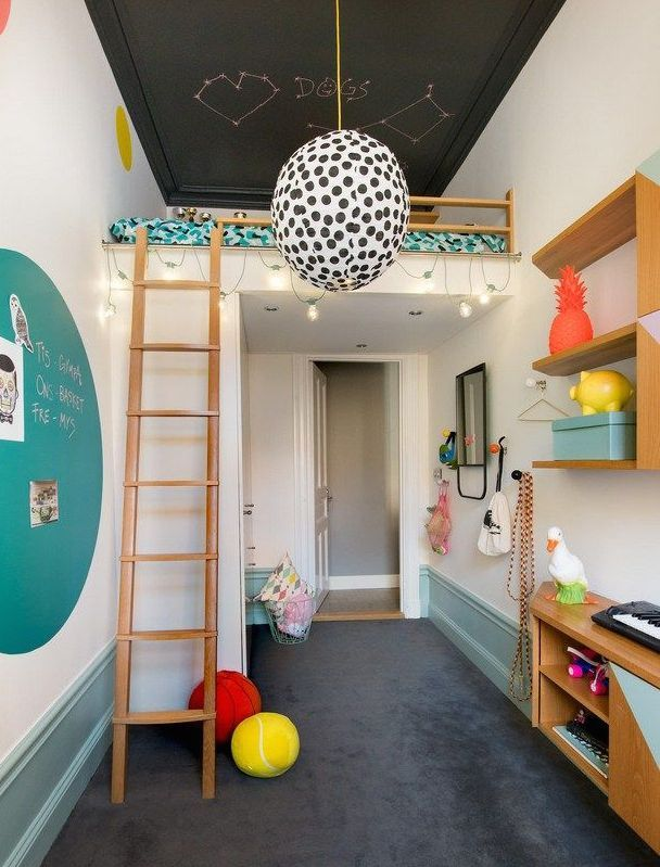 mommo design: Kids LOFT BEDS. Smart how the closets help support the bed & creates a ceiling at the entrance to the small room.