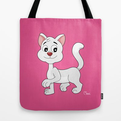White cartoon cat Tote Bag by MaxiHarmony - $22.00