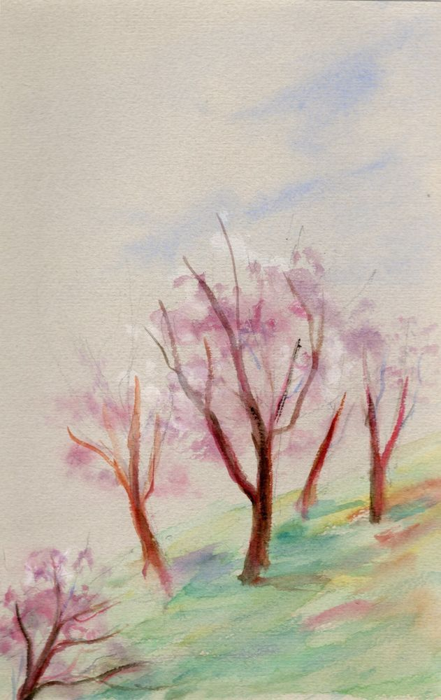 Trees in Blossom, c. 1955 watercolor by Greek Artemis Melissarato via Galerie Zygos Now on Ebay!