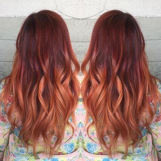 Mechas balayage rojas pelo corto