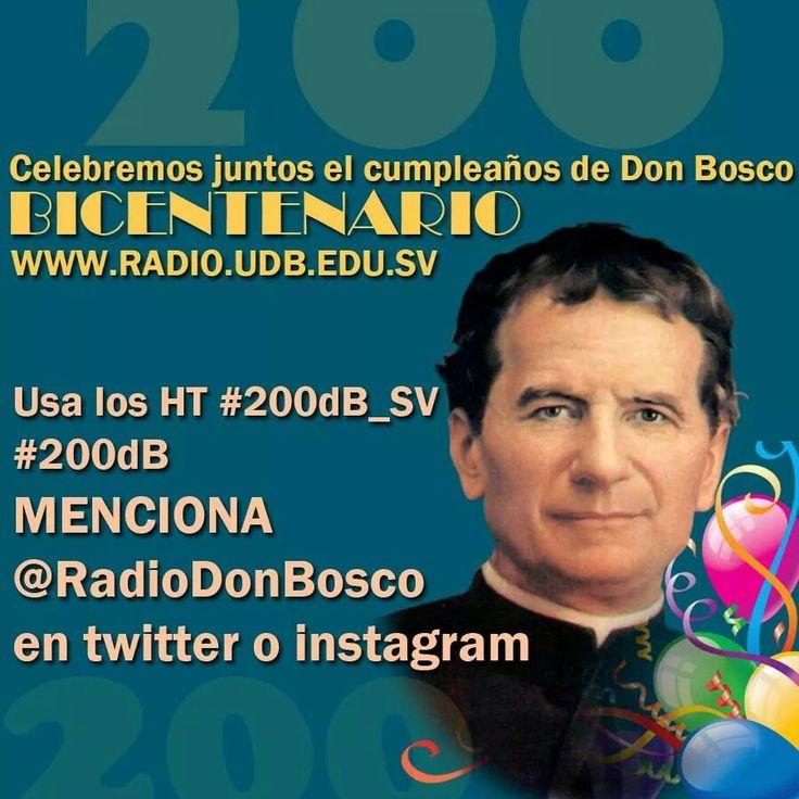 Forma parte de esta acctividad con motivo de esta maravilloza celebracion www.radio.udb.edu.sv Salesianos unidos por tu obra en el mundo