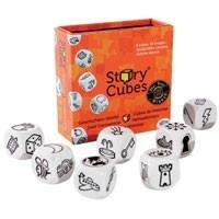 """Rory`s Story Cubes of ook wel de klets dobbelstenen genoemd zijn een doosje met daarin 9 dobbestenen. Op iedere dobbelsteen staan 6 verschillende afbeeldingen dus het te gooien combinaties is eindeloos. Laat je fantasie zijn gang gaan, begin het verhaal met """"Er was eens..."""" en ga verder."""