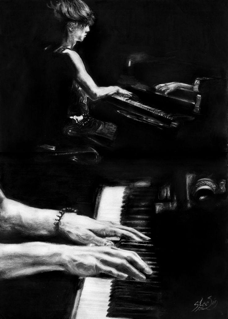 lay, k-pop, exo, пианино, руки, парень, чёрно-белое, black, white, музыка