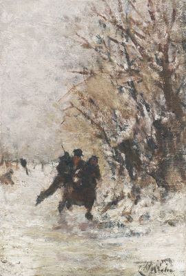 Henri van Seben (1827-1913) A couple skating in a winter landscape, oil on canvas laid down on panel. Collection Simonis & Buunk, The Netherlands