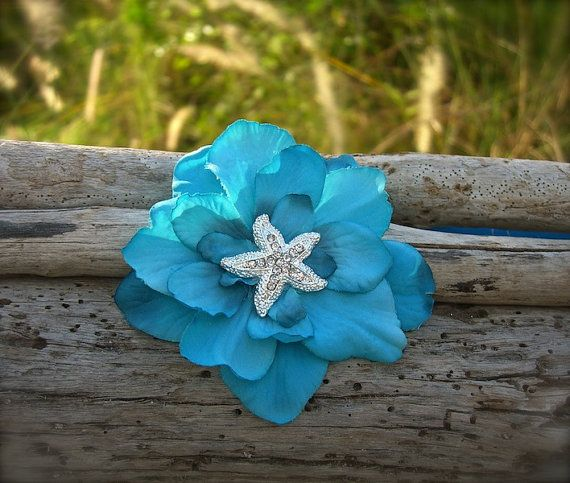 Starfish Hair Clip Comb BarretteAQUA by sandnsurfcreations on Etsy, $14.95