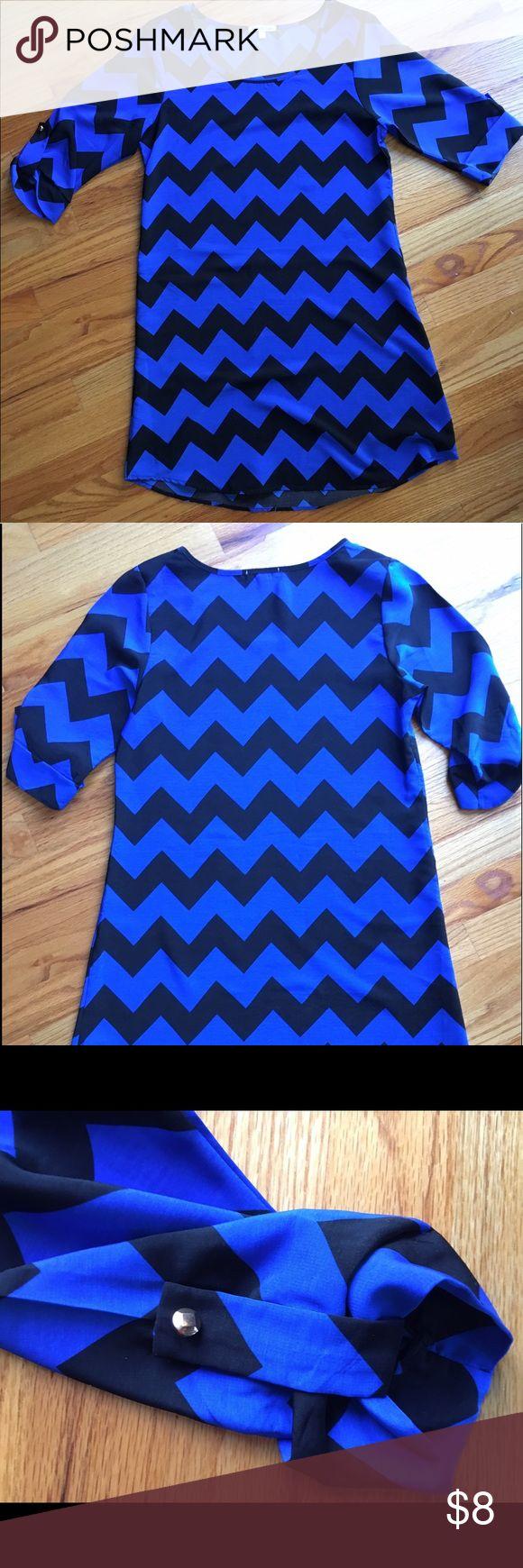 Chevron dress! Black and blue chevron dress size small! Charlotte Russe Dresses Long Sleeve