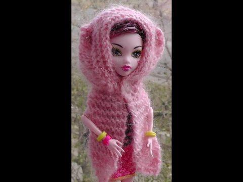 Как вязать шарф-капюшон на спицах. Обновки для куклы Монстр хай. Уроки вязания для начинающих. - YouTube