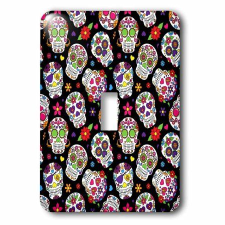3dRose Colorful Scattered Sugar Skulls On A Black Background Pattern, Single Toggle Switch