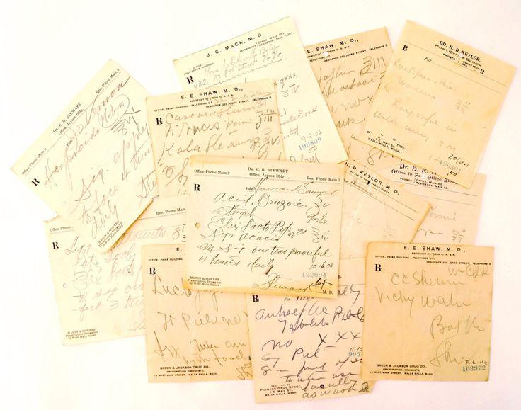 Vintage / Antique Handwritten Medical Prescriptions, Set of 12 (c.1900s) N4