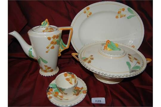 Meadowlands Art Deco Dinner & coffee Set (31 pieces). Featonby's Auctioneers, viaThe Salesroom, Dec 2016. No opening range indicated. Sold GBP15.