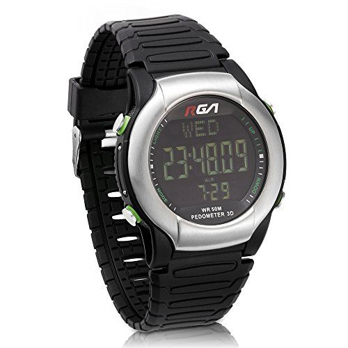 RGA Men's Waterproof Outdoor Digital Sport Watch Time Alarm Countdown Step Watch LED Multifunctional Luminous Electronic Casual Watches Cool Design for Adult Children Student (Red)   MODEL NO: RG-889 MOVT: LED Function mode: time mode, step mode (km / calories / steps), alarm, countdown, stopwatch, Product Name: RGA Produ
